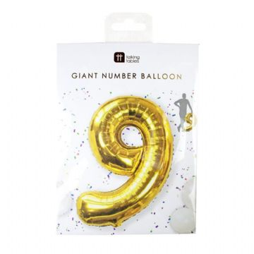 Giant Gold Foil Number Balloon - 9